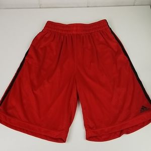 Adidas Mesh Red/Blk 3-Stripe Mens Basketball Short